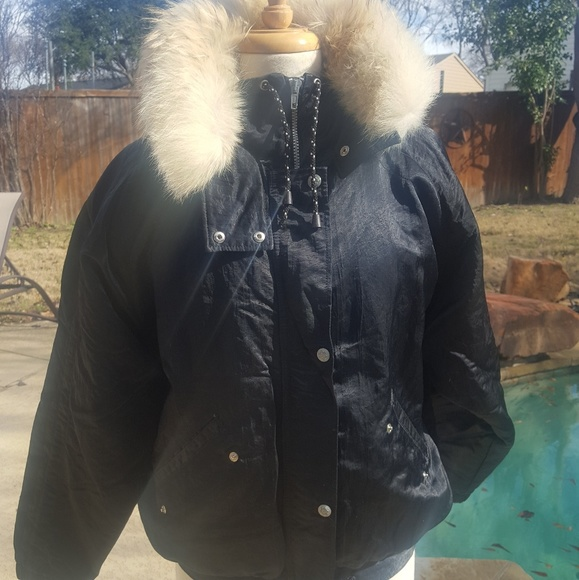 c98f80016888 NILS Black down Puffer Ski Jacket Coat Real Fur 12.  M_5c32c15c45c8b3115ae63346